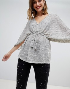Блузка с рукавами-кимоно и пайетками River Island - Серый