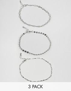 Набор из 3 браслетов на ногу с гравировкой ASOS DESIGN - Серебряный