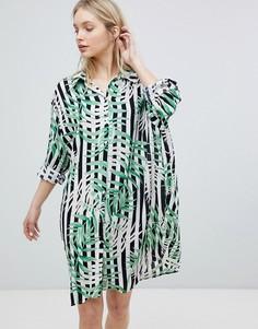 Платье-рубашка в полоску с лиственным принтом QED London - Мульти