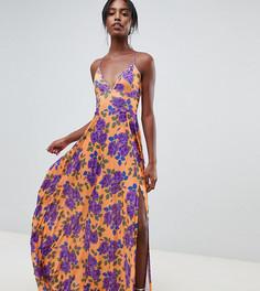 Платье макси с плиссировкой и цветочным принтом ASOS DESIGN Tall - Мульти