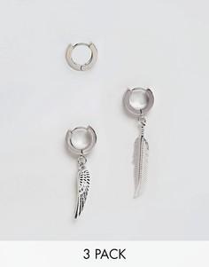 Серьги-кольца с подвесками-перьями ASOS - Серебряный
