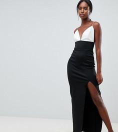 Платье макси на бретельках с глубоким вырезом и разрезом ASOS DESIGN Tall - Мульти