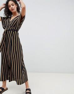 Платье макси в полоску с V-образным вырезом Pimkie - Коричневый
