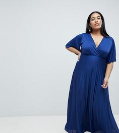 Платье-кимоно макси с плиссировкой ASOS DESIGN Curve - Темно-синий