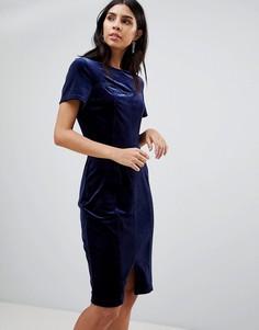 Бархатное платье с ремнем Paper Dolls - Темно-синий