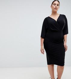 Черное трикотажное платье миди Outrageous Fortune plus - Черный