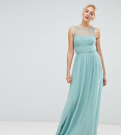 Платье макси с декорированным лифом Little Mistress tall - Зеленый