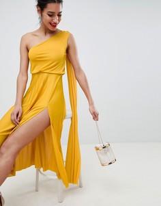 Платье миди на одно плечо с плиссировкой ASOS DESIGN - Золотой