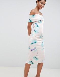 Платье-футляр миди с открытыми плечами и цветочным принтом City Goddess - Розовый