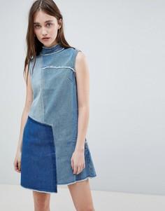 Джинсовое платье с высоким воротом и отделкой пэчворк Waven - Синий