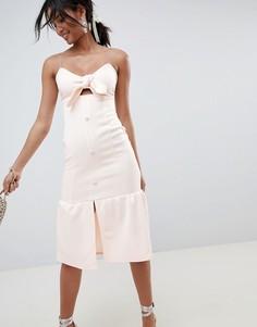 Платье миди с узлом и баской ASOS DESIGN - Розовый