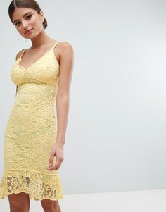 Кружевное платье-футляр с оборкой по краю Jessica Wright - Желтый