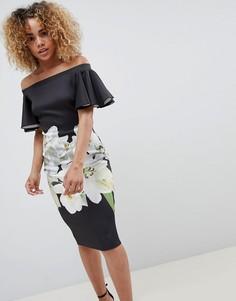 Платье с широким вырезом и цветочным принтом Jessica Wright - Черный