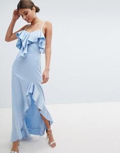 Платье макси с открытыми плечами, оборками и разрезом сбоку Jessica Wright - Синий