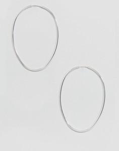 Серебристые большие серьги-кольца Weekday - Серебряный