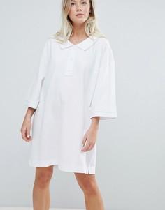 Белое платье-поло из пике Weekday - Белый