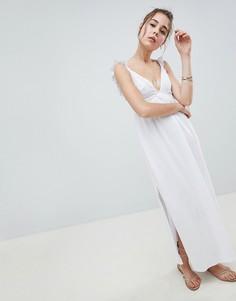 Платье макси с вышивкой ришелье ASOS DESIGN - Белый