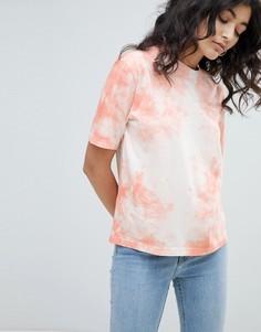 Бело-розовая винтажная футболка с принтом тай-дай Weekday - Розовый
