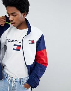 Спортивная куртка синего/красного/белого цвета в стиле 90-х Tommy Jeans - Темно-синий