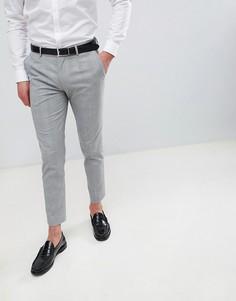 Серые укороченные брюки в клетку Burton Menswear - Серый