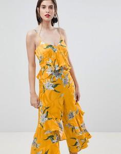 Комбинезон с оборками и цветочным принтом River Island - Желтый