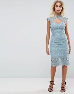 Кружевное платье-футляр миди с фигурными краями Chi Chi London - Серый