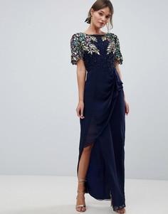 Платье макси с оборкой и запахом на юбке Virgos Lounge Ariann - Темно-синий
