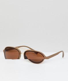Коричневые матовые солнцезащитные очки-авиаторы AJ Morgan - Коричневый