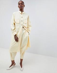 Саржевые брюки от комплекта ASOS WHITE - Желтый