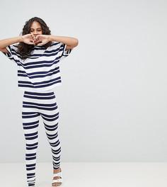 Пижама с футболкой и леггинсами в полоску ASOS DESIGN Tall - Мульти