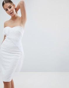 Асимметричное кружевное платье-футляр Vesper - Белый