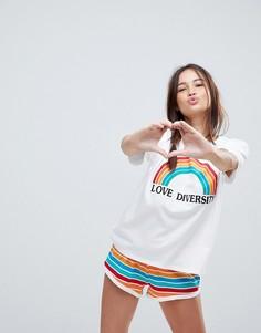 Пижамный комплект из топа с надписью Love Diversity и шорт ASOS - Мульти
