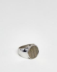 Серебристое кольцо с шевронообразной отделкой Icon Brand - Серебряный