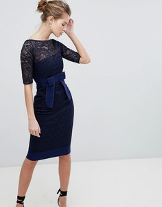 Кружевное платье-футляр Vesper - Темно-синий