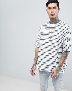 Белая оверсайз-футболка в полоску AllSaints - Белый