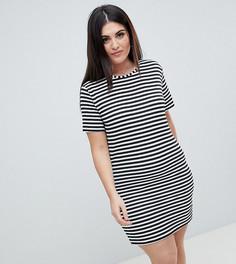 Платье-футболка в полоску Boohoo Plus - Мульти