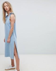 Джинсовое платье макси с завязками Dr Denim - Синий