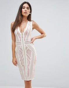 Кружевное облегающее платье с контрастной подкладкой Forever Unique - Кремовый