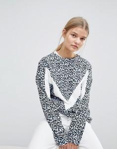 Свитшот с леопардовым принтом Max&Co - Синий