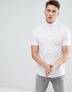 Белая обтягивающая футболка с молнией на вороте ASOS DESIGN - Белый