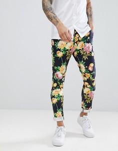 Супероблегающие брюки с цветочным принтом ASOS DESIGN - Темно-синий