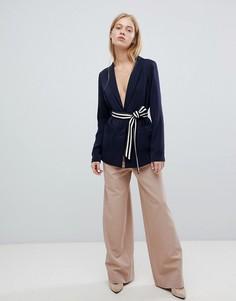 Широкие брюки с защипами ASOS DESIGN - Кремовый