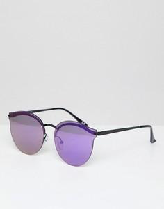 Черные круглые солнцезащитные очки с фиолетовыми накладными стеклами ASOS DESIGN - Черный