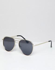 Солнцезащитные очки-авиаторы с планкой сверху ASOS DESIGN - Золотой
