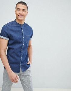 Темная узкая эластичная джинсовая рубашка с воротником на пуговице ASOS DESIGN - Темно-синий