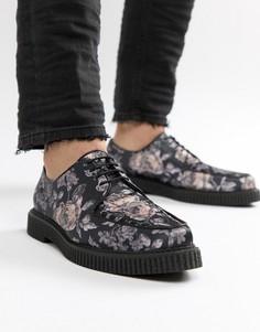 Криперы на шнуровке с цветочным принтом ASOS DESIGN - Черный
