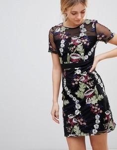 Платье мини с цветочной вышивкой Girls on Film - Черный