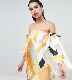 Платье с открытыми плечами и завязками на рукавах True Violet - Мульти