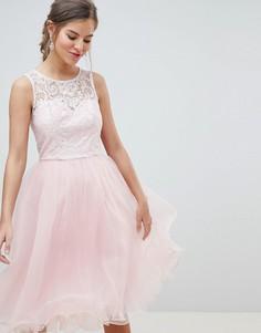 6930c1c5881 Платье для выпускного из тюля с кружевным лифом Chi Chi London - Розовый