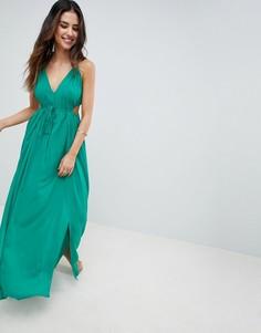 Пляжное платье макси с лямкой через шею и вырезами по бокам ASOS DESIGN - Зеленый